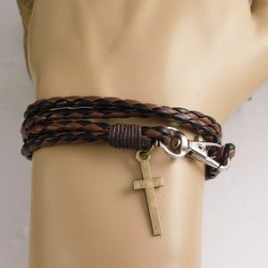 Other - Christian braided  leather wrap bracelet
